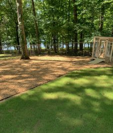 Edging, gravel, irrigation and sod